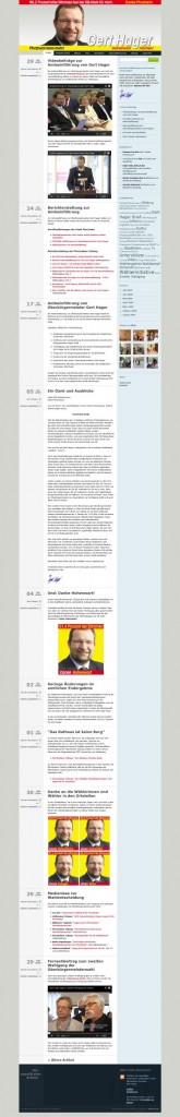 Screenshot Website OB-Wahlkampf Gert Hager 2009